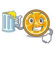 with juice orange mascot cartoon style vector image