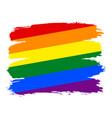 brush stroke rainbow flag lgbt movement vector image