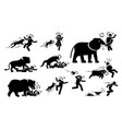 animals attack human icons signs symbol depict vector image