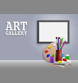 art gallery mock up realistic vector image