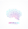 artificial intelligence brain logo concept vector image