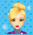 avatar cute blonde girl vector image