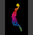 basketball player dunking graphic vector image