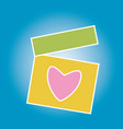 beautiful greeting box with heart for gift vector image vector image