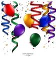 Birthday card with curling stream confetti vector image vector image