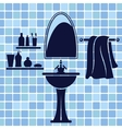 Blue bathroom interior vector image