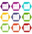 building plan icon set color hexahedron vector image vector image