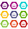 burger icons set 9 vector image vector image