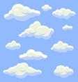 Cartoon clouds isolated on blue sky set