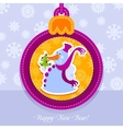 christmas ball postcard snowman with fir-tree vector image vector image