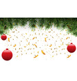 christmas fir border with fir leaf and golden vector image vector image