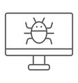 computer virus thin line icon technology and vector image vector image