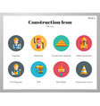 construction icons flat pack vector image