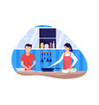 couple cooking together vector image vector image