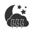 dark night thunderstorm weather icon on background vector image vector image