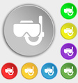 Diving mask icon sign Symbol on eight flat buttons vector image vector image