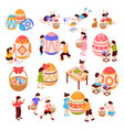 easter isometric icons set vector image