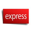 express red square isolated paper sign on white vector image vector image
