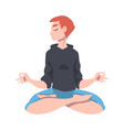 female with closed eyes and crossed legs sitting vector image vector image