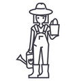 gardener woman with plant and watering can vector image
