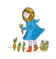 girl and carrot harvest - cute illlustration for vector image vector image