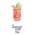 glass summer iced tea vector image vector image