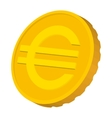 Gold coin with Euro sign icon cartoon style vector image vector image