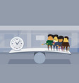 group of asian business people vs time on balance vector image vector image
