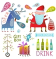 Happy New Year Merry Christmas clip art collection vector image vector image