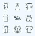 icons line style set with evening wear swimming vector image