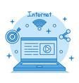 internet concept laptop connection media vector image