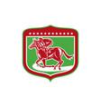 Jockey Horse Racing Side Shield Woodcut vector image vector image