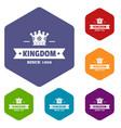 kingdom icons hexahedron vector image vector image