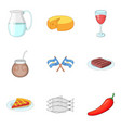 national cuisine icons set cartoon style vector image