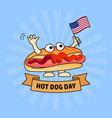 national hot dog day card vector image