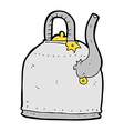 old iron kettle comic cartoon vector image vector image
