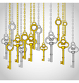 old keys hanging from gold and silver link chain vector image vector image