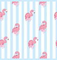 seamless pattern with cartoon pink flamingo vector image vector image