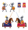 set of medieval knights and banner vector image
