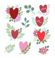set of stickers for valentines day isolated on vector image vector image