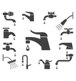 set water tap or faucet icons vector image