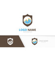 shield and graph logo combination security vector image