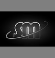 Sm s m letter alphabet logo black white icon