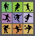 Soccer Boy Silhouettes 2 vector image vector image