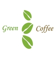 Three green coffee beans on white vector image vector image