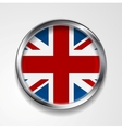 United Kingdom of Great Britain metal button flag vector image vector image