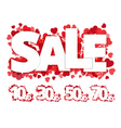 White sale sign over red hearts vector image vector image