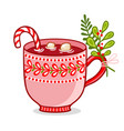 with christmas cup on a white vector image