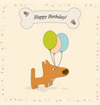 greeting card with dog vector image