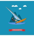 Windsurfer on the board with sail flat design vector image